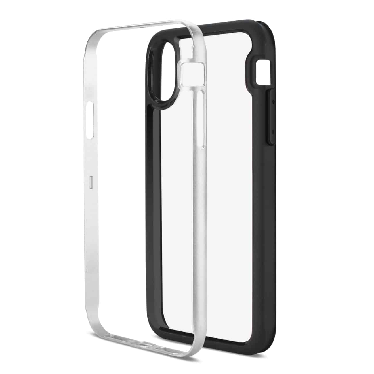 iPhone X Hard Transparent Plastic TPU Case In Clear Silver