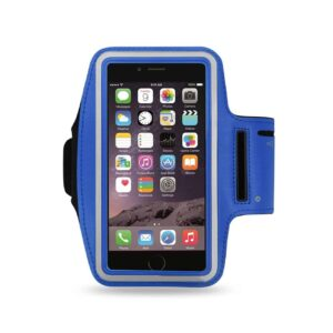 RUNNING ARMBAND WITH TOUCH SCREEN CASE 6X3X0.75 INCHES IN NAVY