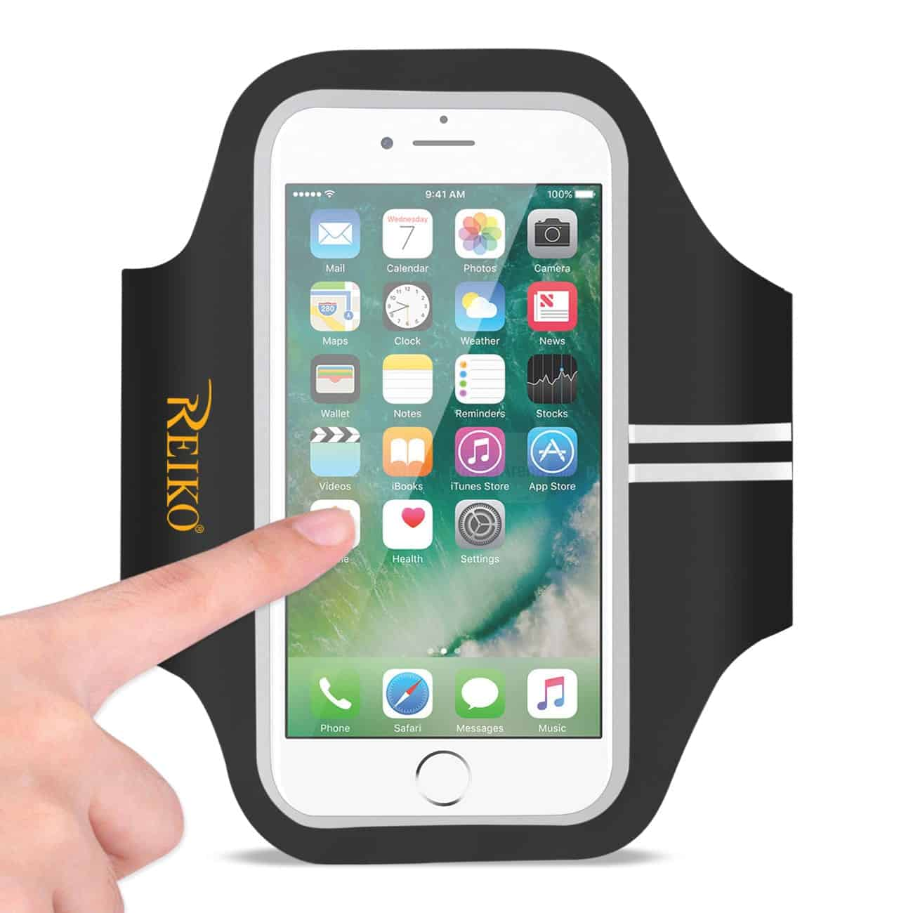 RUNNING SPORTS ARMBAND FOR IPHONE 7/ 6/ 6S OR 5 INCHES DEVICE IN BLACK (5x5 INCHES)