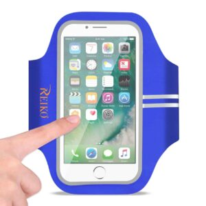 RUNNING SPORTS ARMBAND FOR IPHONE 7 PLUS/ 6S PLUS OR 5.5 INCHES DEVICE IN BLUE (5.5x5.5 INCHES)