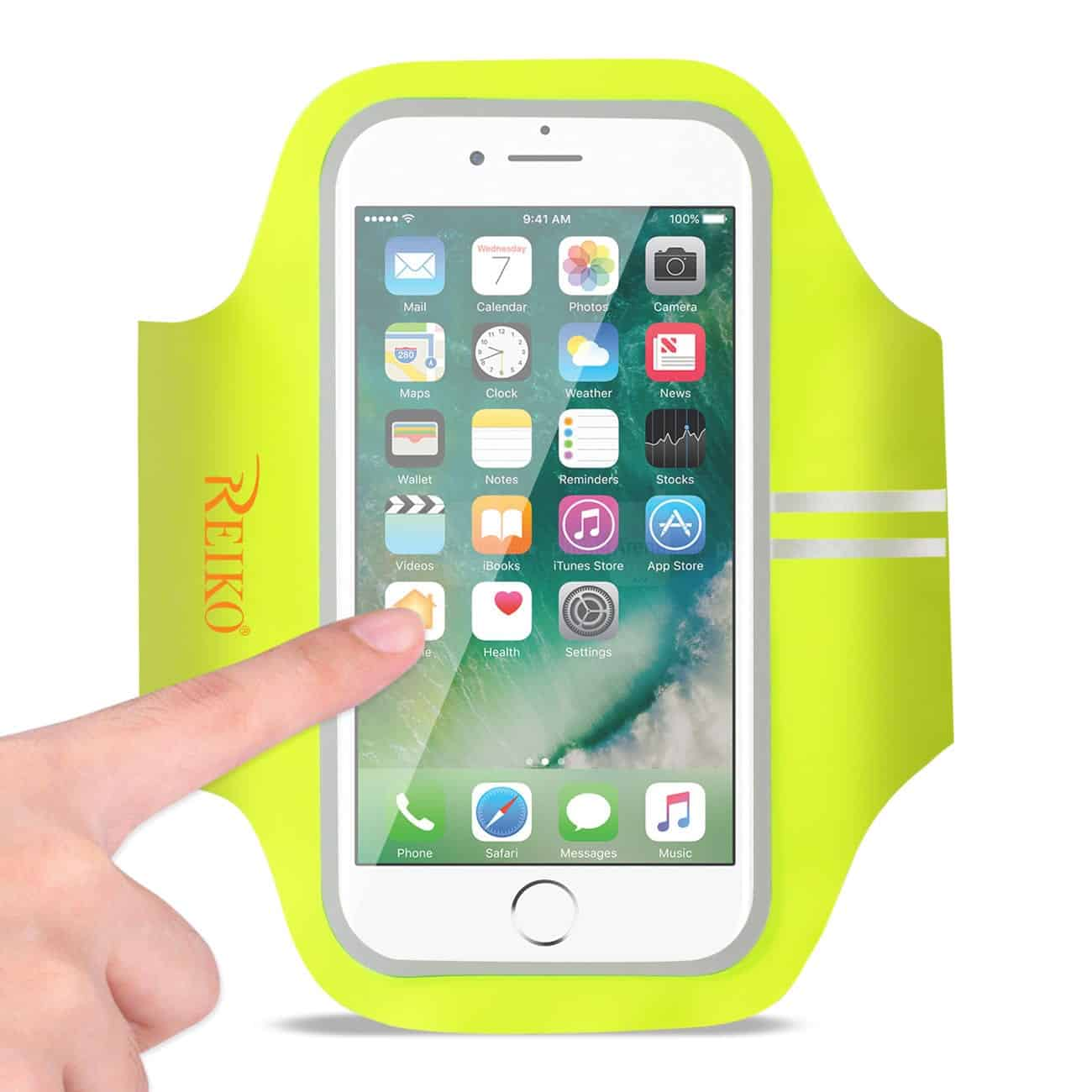 RUNNING SPORTS ARMBAND FOR IPHONE 7 PLUS/ 6S PLUS OR 5.5 INCHES DEVICE IN GREEN (5.5x5.5 INCHES)
