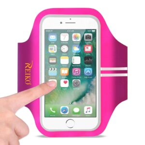 RUNNING SPORTS ARMBAND FOR IPHONE 7 PLUS/ 6S PLUS OR 5.5 INCHES DEVICE IN PINK (5.5x5.5 INCHES)