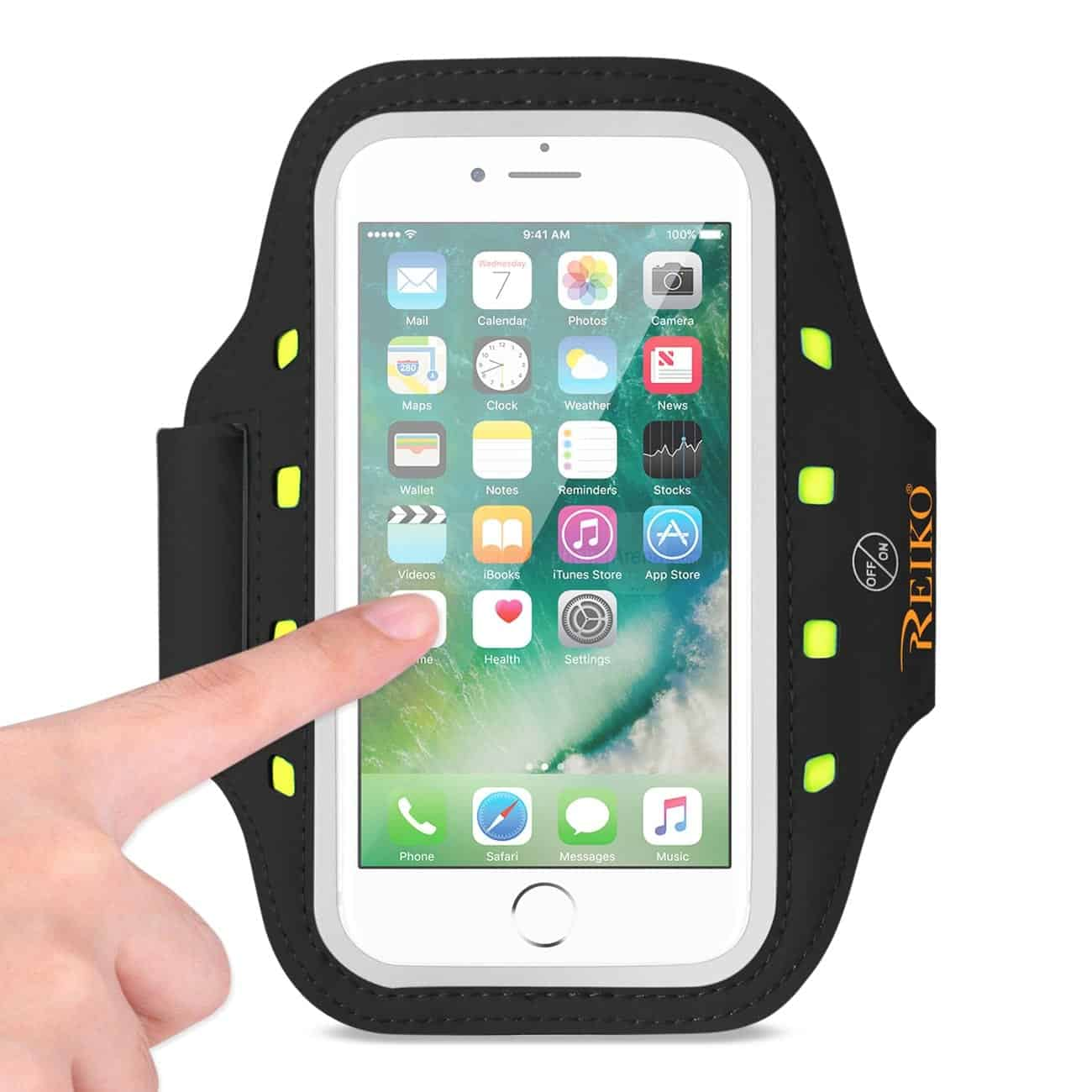 RUNNING SPORTS ARMBAND FOR IPHONE 7/ 6/ 6S OR 5 INCHES DEVICE WITH LED IN BLACK (5x5 INCHES)