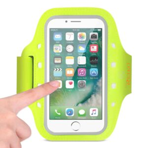 RUNNING SPORTS ARMBAND FOR IPHONE 7/ 6/ 6S OR 5 INCHES DEVICE WITH LED IN GREEN (5x5 INCHES)
