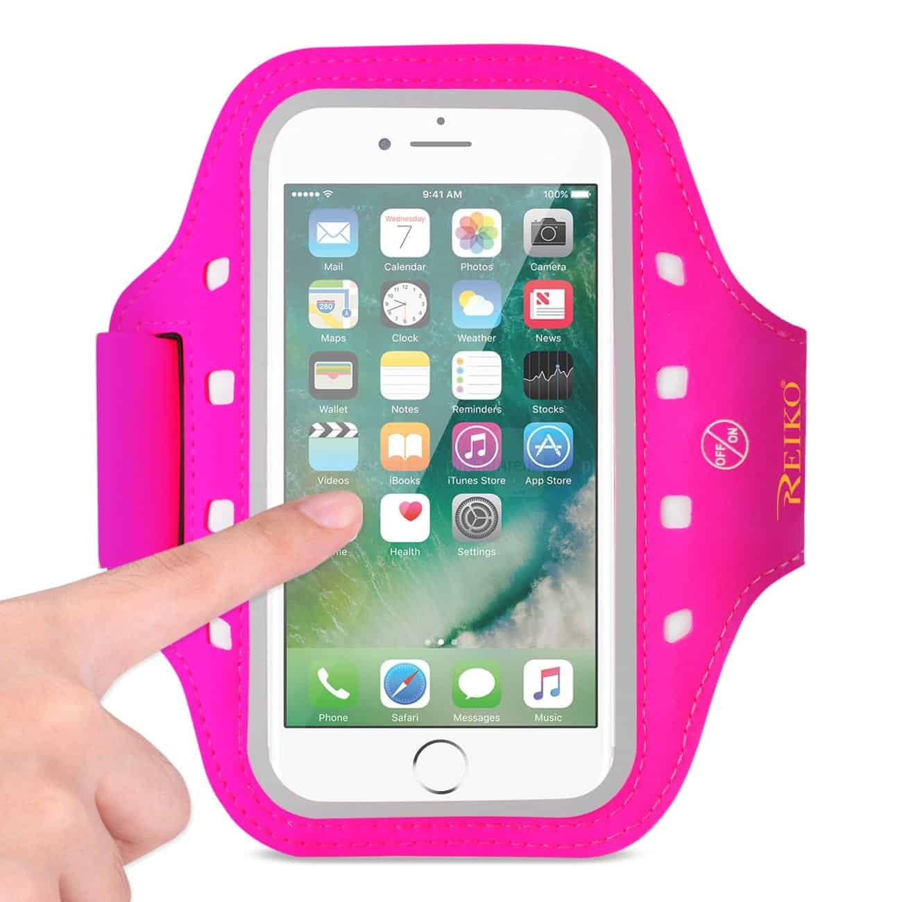 RUNNING SPORTS ARMBAND FOR IPHONE 7/ 6/ 6S OR 5 INCHES DEVICE WITH LED IN PINK (5x5 INCHES)