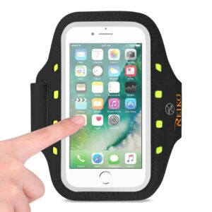 RUNNING SPORTS ARMBAND FOR IPHONE 7 PLUS/ 6S PLUS OR 5.5 INCHES DEVICE WITH LED IN BLACK (5.5x5.5 INCHES)