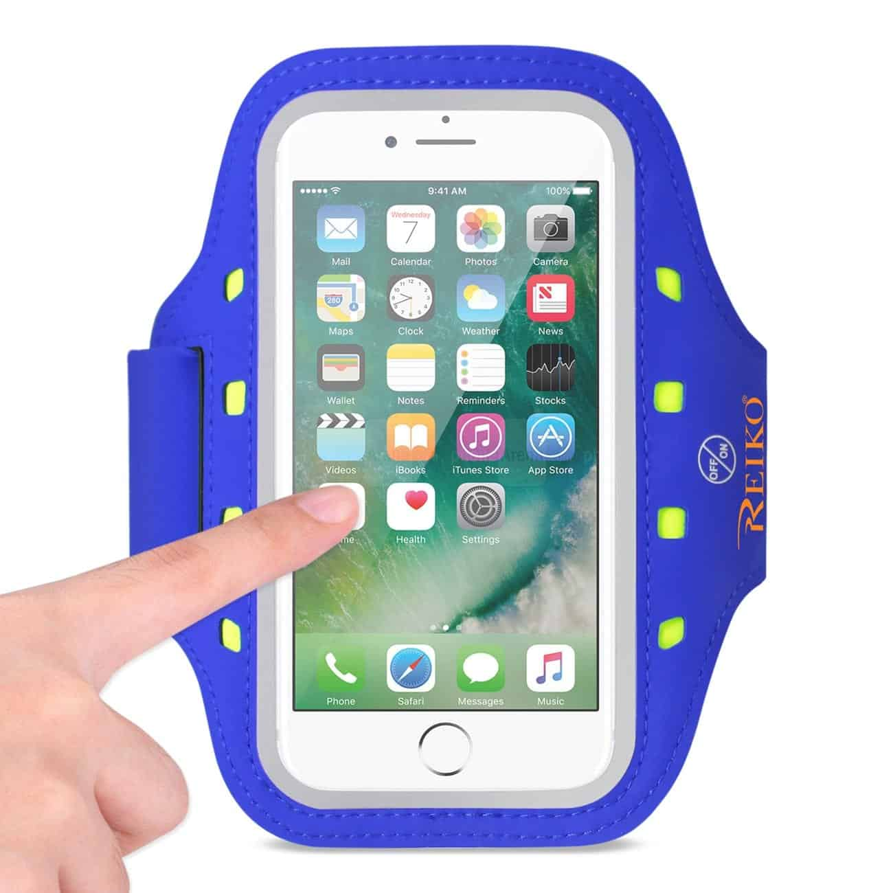 RUNNING SPORTS ARMBAND FOR IPHONE 7 PLUS/ 6S PLUS OR 5.5 INCHES DEVICE WITH LED IN BLUE (5.5x5.5 INCHES)