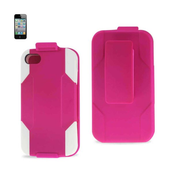 IPHONE 4G HYBRID HEAVY DUTY HOLSTER COMBO KICKSTAND CASE IN WHITE HOT PINK