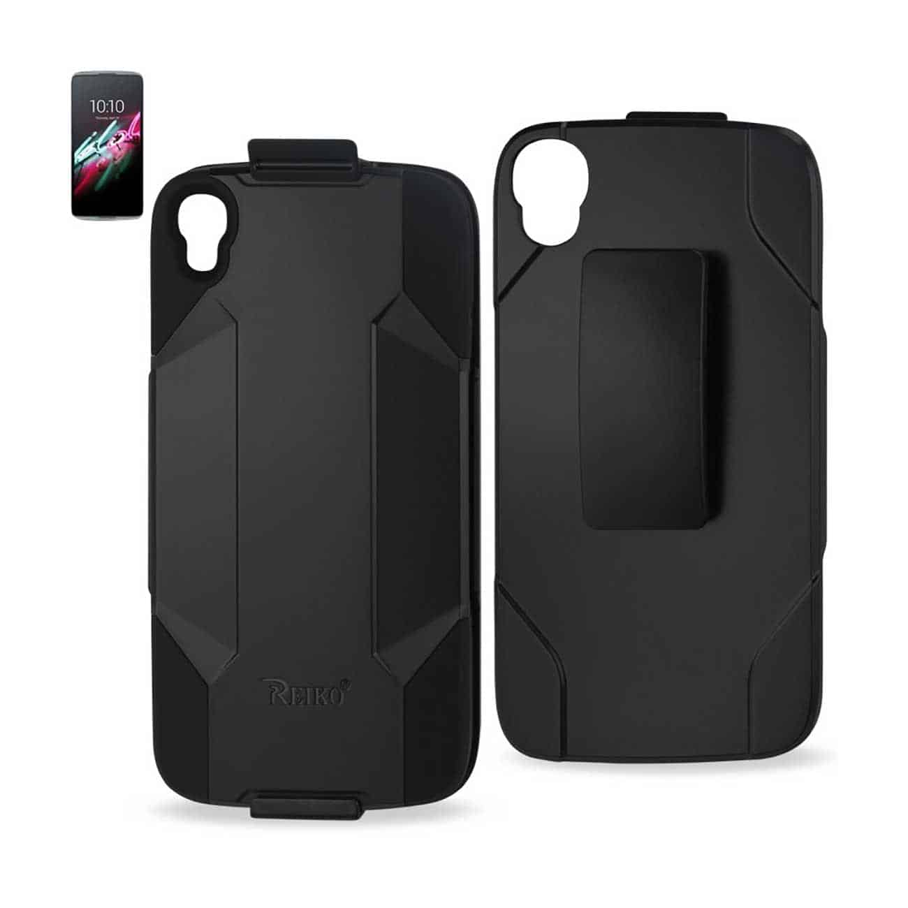 ALCATEL ONE TOUCH IDOL 3 HYBRID HEAVY DUTY HOLSTER COMBO CASE IN BLACK