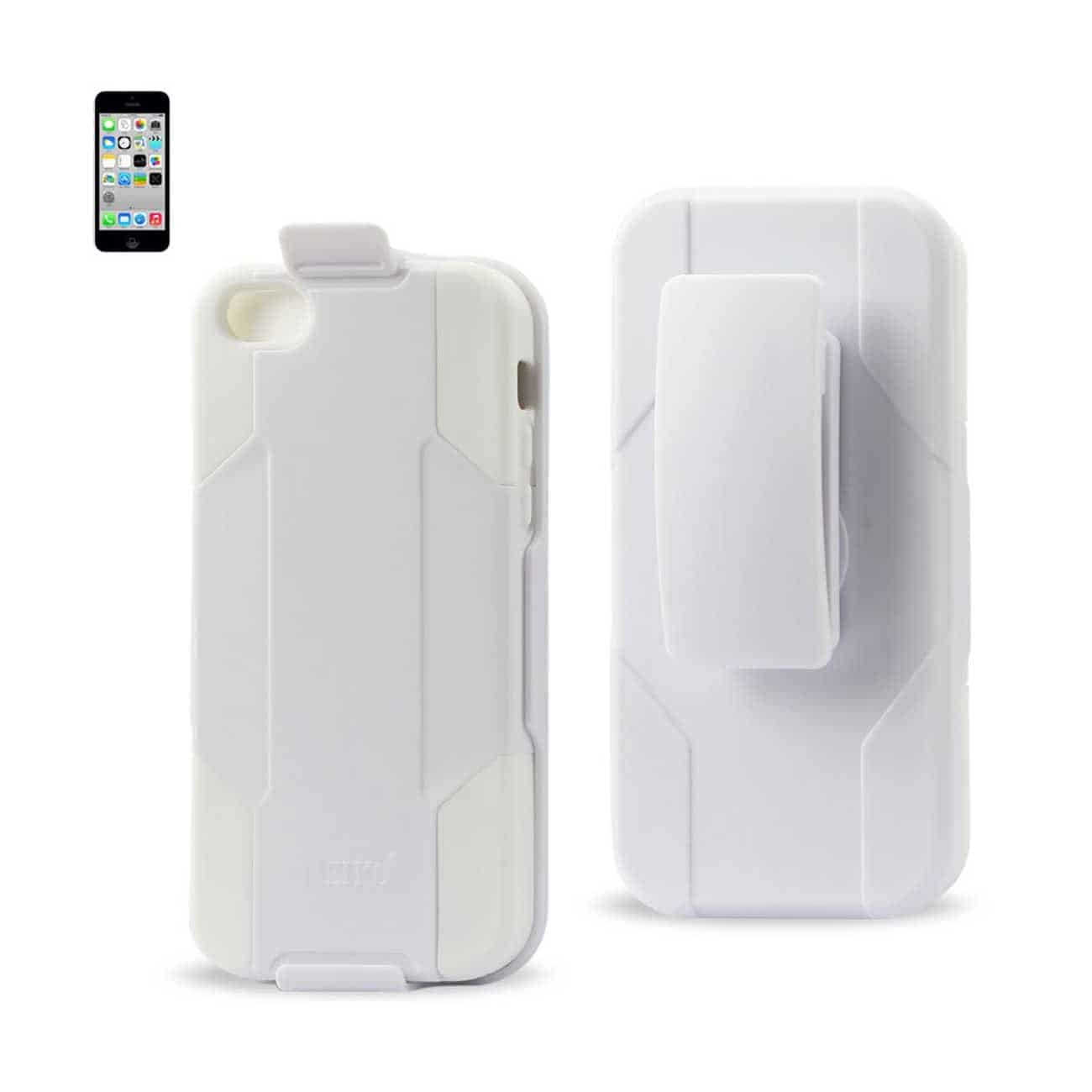 IPHONE 5C HYBRID HEAVY DUTY HOLSTER COMBO CASE IN WHITE