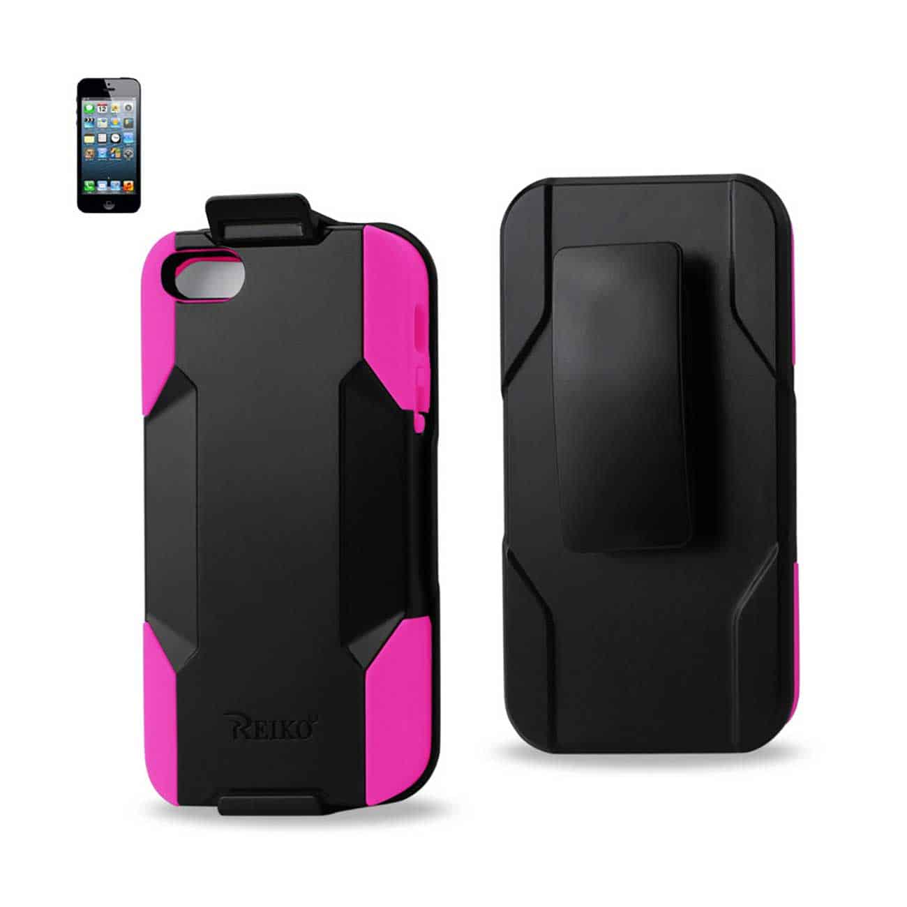 IPHONE SE/ 5S/ 5 HYBRID HEAVY DUTY HOLSTER COMBO CASE IN HOT PINK BLACK