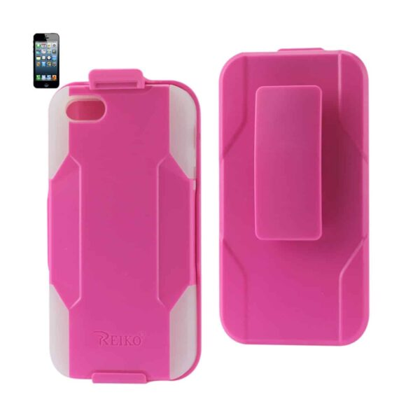 IPHONE SE/ 5S/ 5 HYBRID HEAVY DUTY HOLSTER COMBO CASE IN HOT PINK CLEAR