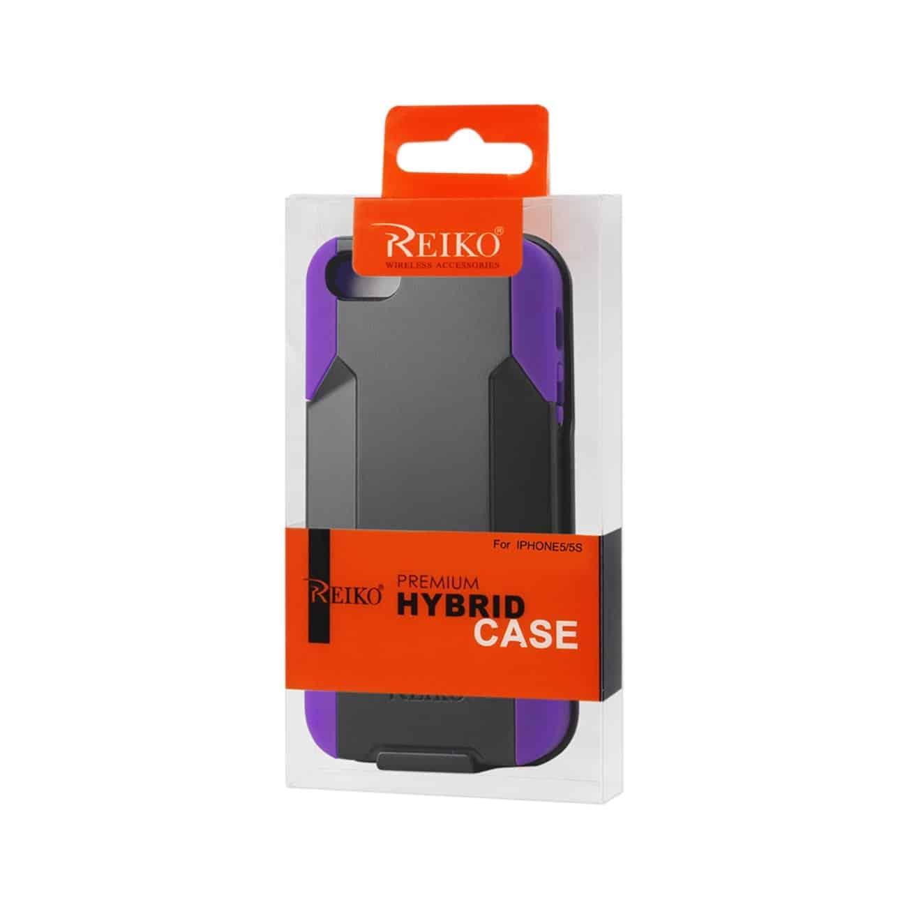 IPHONE SE/ 5S/ 5 HYBRID HEAVY DUTY HOLSTER COMBO CASE IN PURPLE BLACK