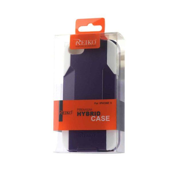 IPHONE SE/ 5S/ 5 HYBRID HEAVY DUTY HOLSTER COMBO CASE IN PURPLE WHITE