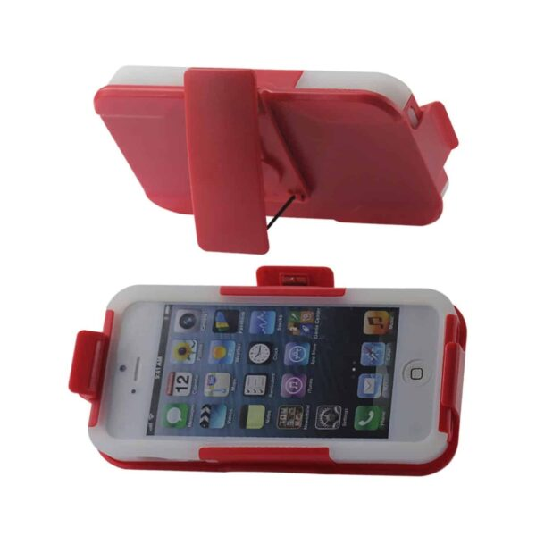 IPHONE SE/ 5S/ 5 HYBRID HEAVY DUTY HOLSTER COMBO CASE IN RED CLEAR