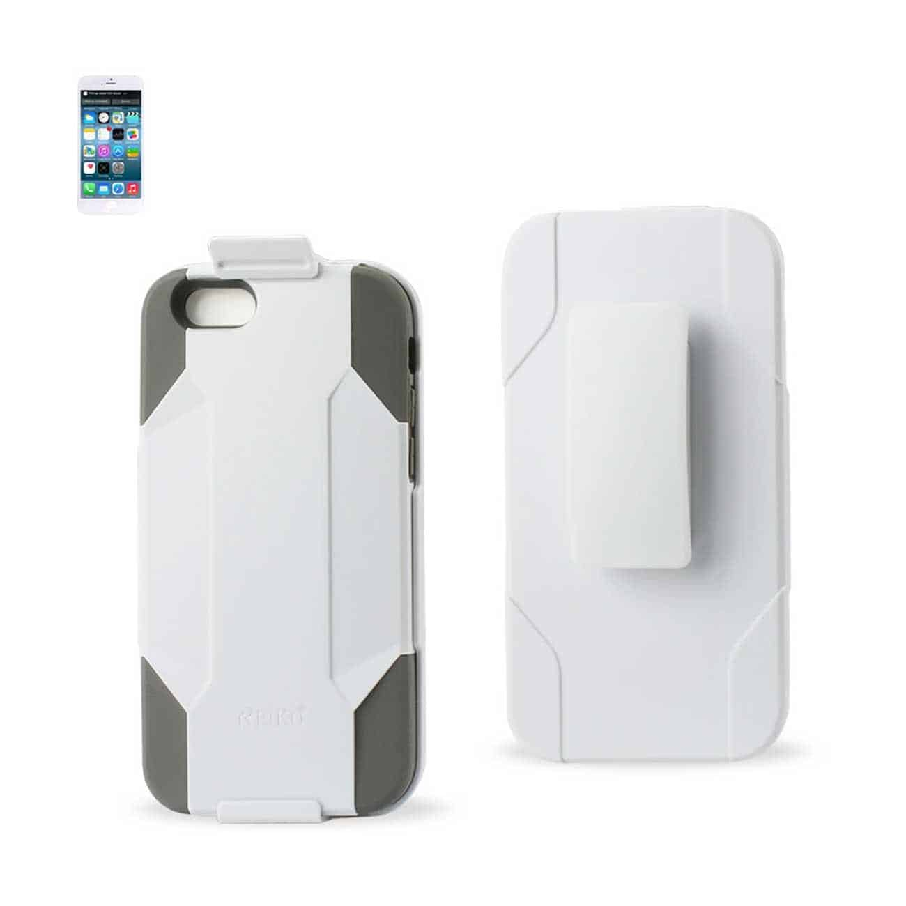 IPHONE 6 HYBRID HEAVY DUTY HOLSTER COMBO CASE IN GRAY WHITE