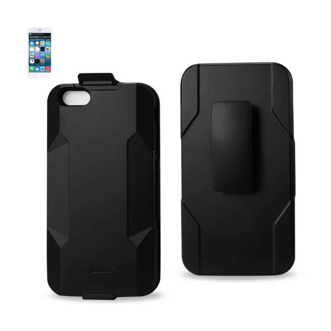 IPHONE 6 PLUS HYBRID HEAVY DUTY HOLSTER COMBO CASE IN BLACK