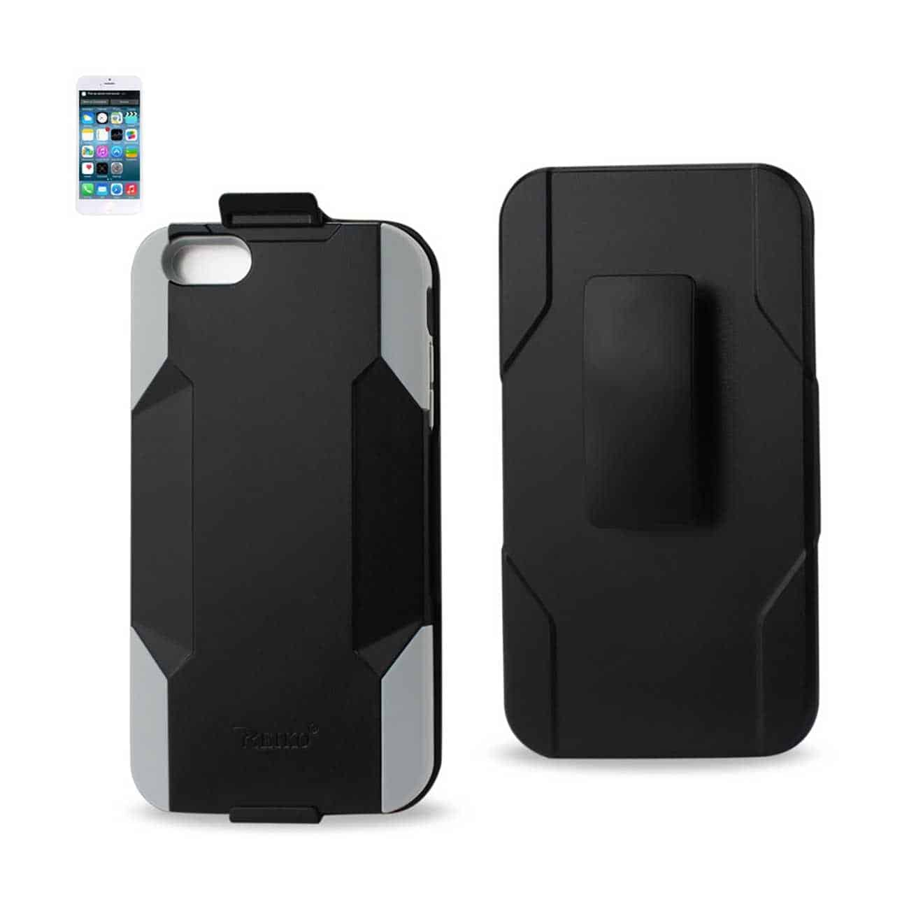IPHONE 6 PLUS HYBRID HEAVY DUTY HOLSTER COMBO CASE IN GRAY BLACK