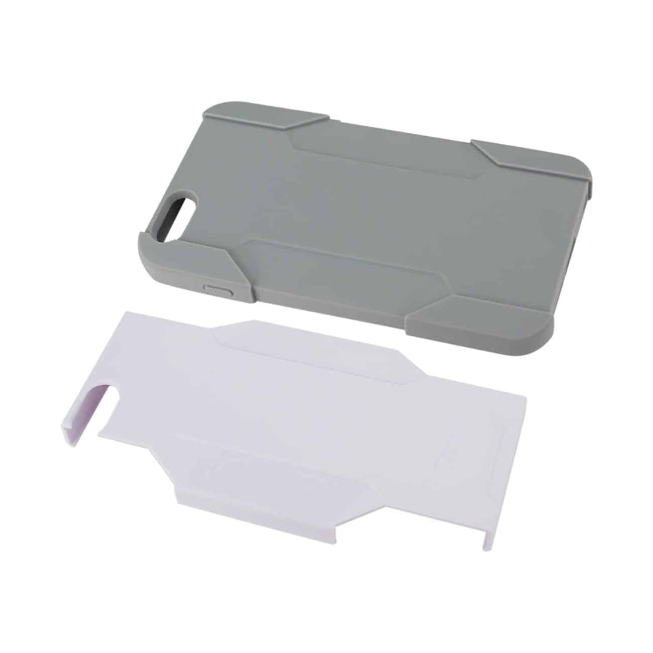 IPHONE 6 PLUS HYBRID HEAVY DUTY HOLSTER COMBO CASE IN GRAY WHITE