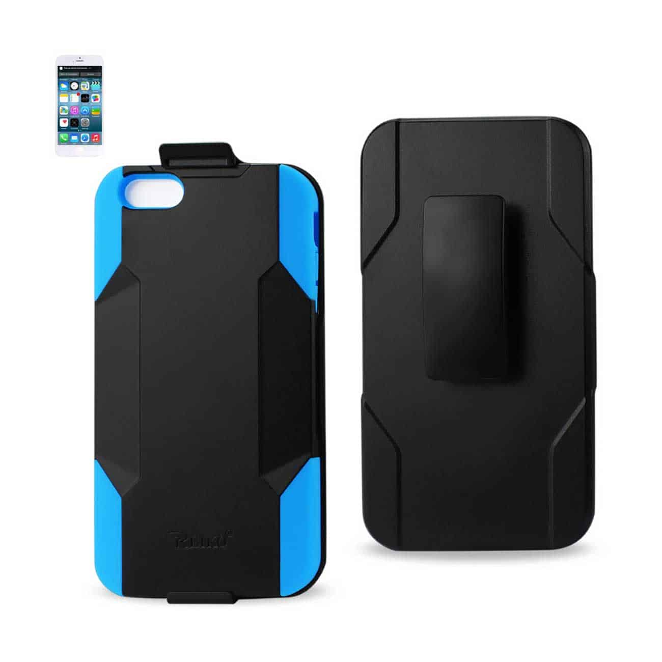 IPHONE 6 PLUS HYBRID HEAVY DUTY HOLSTER COMBO CASE IN NAVY BLACK