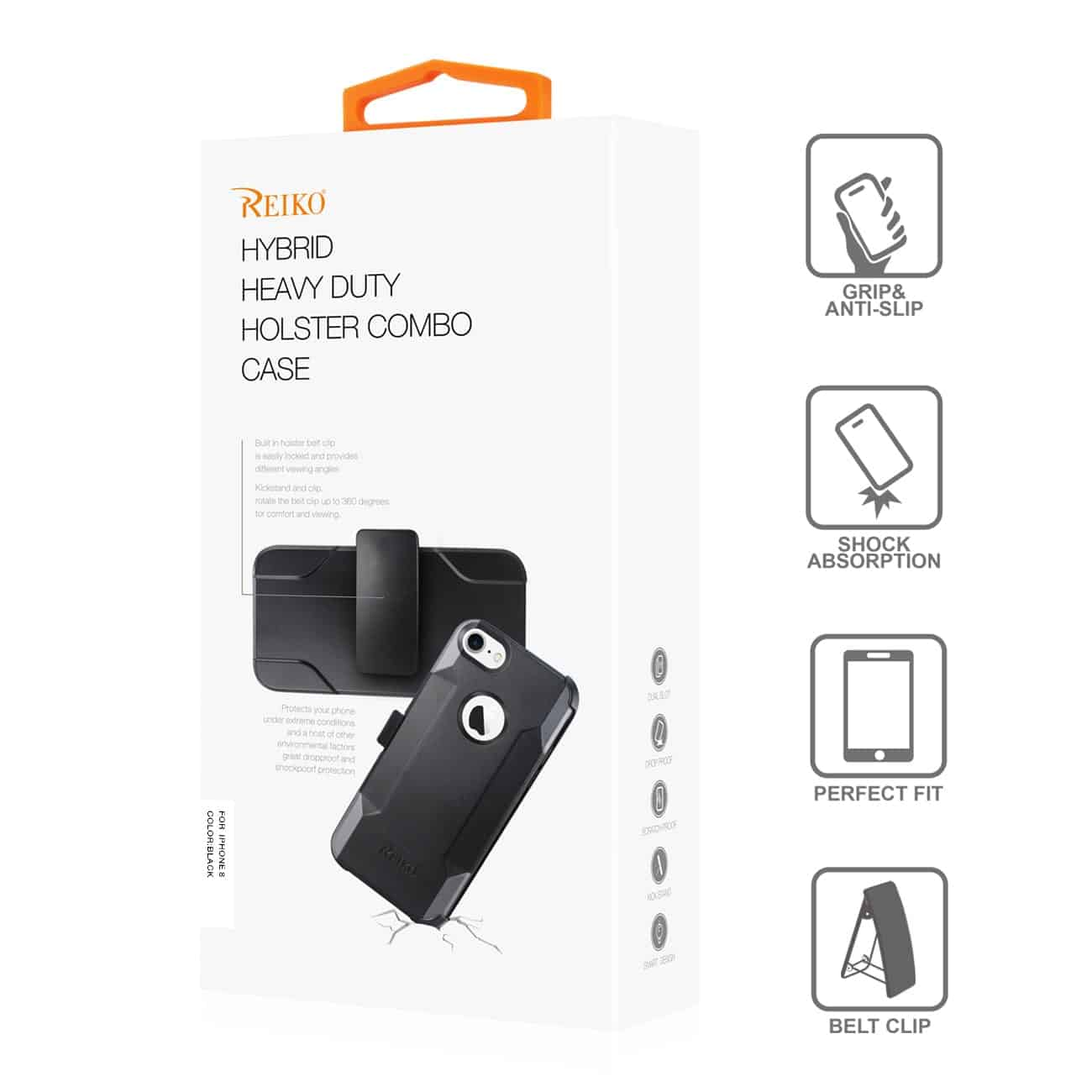 iPhone 8 3-In-1 Hybrid Heavy Duty Holster Combo Case In Black