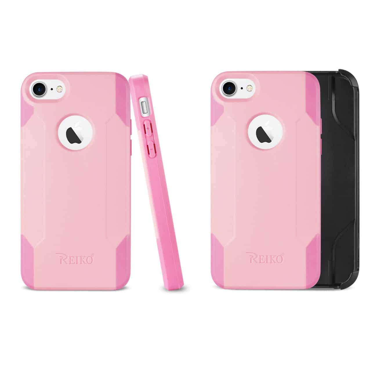 IPHONE 8 3-IN-1 HYBRID HEAVY DUTY HOLSTER COMBO CASE IN LIGHT PINK