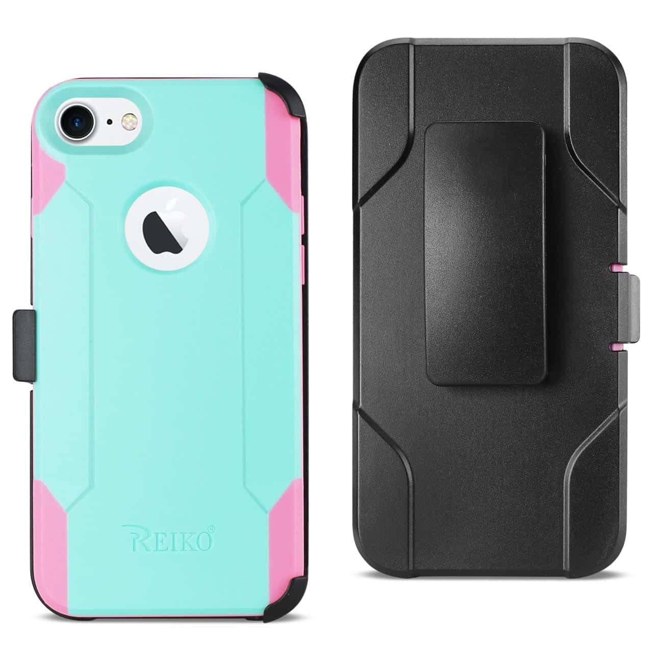 IPHONE 8 3-IN-1 HYBRID HEAVY DUTY HOLSTER COMBO CASE IN MINT GREEN