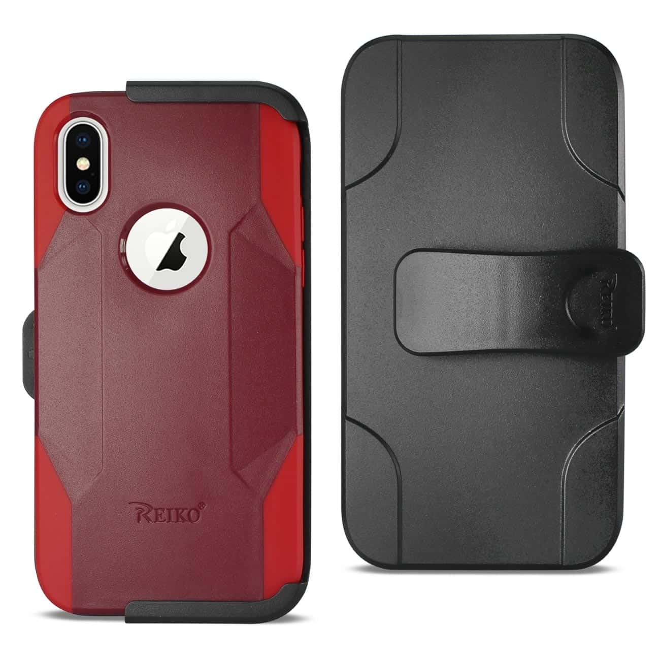 IPHONE X 3-IN-1 HYBRID HEAVY DUTY HOLSTER COMBO CASE IN BURGUNDY