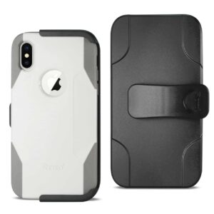 IPHONE X 3-IN-1 HYBRID HEAVY DUTY HOLSTER COMBO CASE IN IVORY
