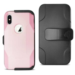 IPHONE X 3-IN-1 HYBRID HEAVY DUTY HOLSTER COMBO CASE IN LIGHT PINK