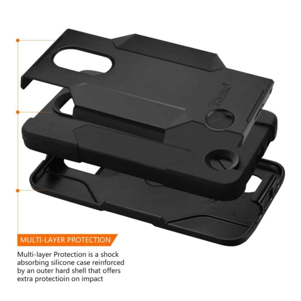 LG K20V/ K20 Plus 3-In-1 Hybrid Heavy Duty Holster Combo Case In Black