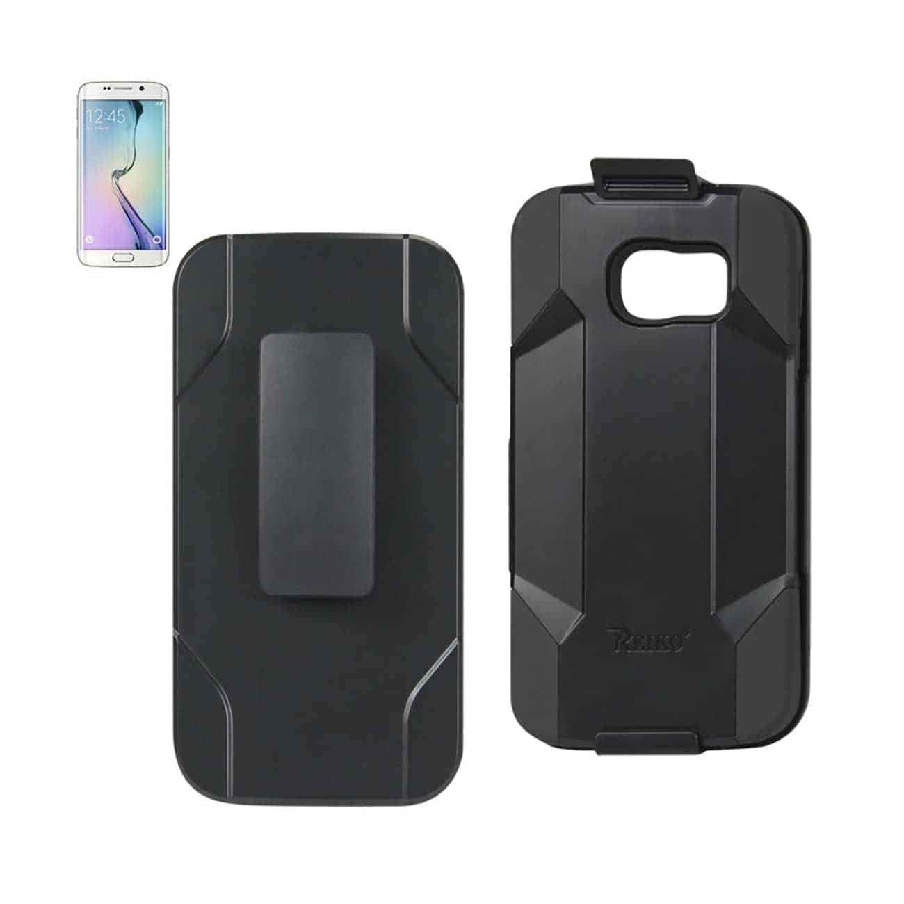 SAMSUNG GALAXY S6 EDGE HYBRID HEAVY DUTY HOLSTER COMBO CASE IN BLACK