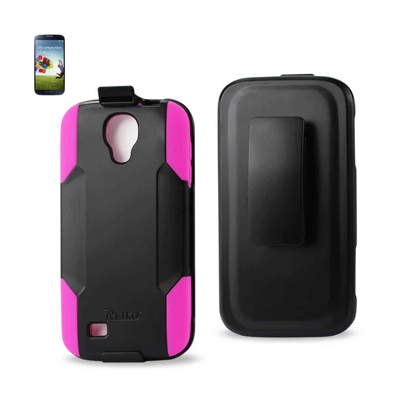 SAMSUNG GALAXY S4 HYBRID HEAVY DUTY HOLSTER COMBO CASE IN HOT PINK BLACK