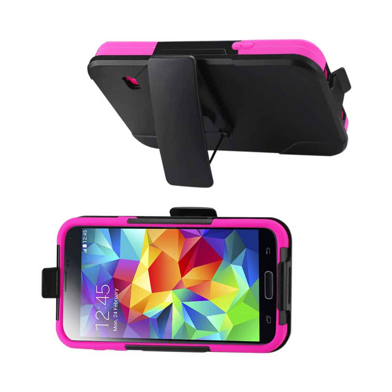 SAMSUNG GALAXY S5 HYBRID HEAVY DUTY HOLSTER COMBO CASE IN HOT PINK BLACK