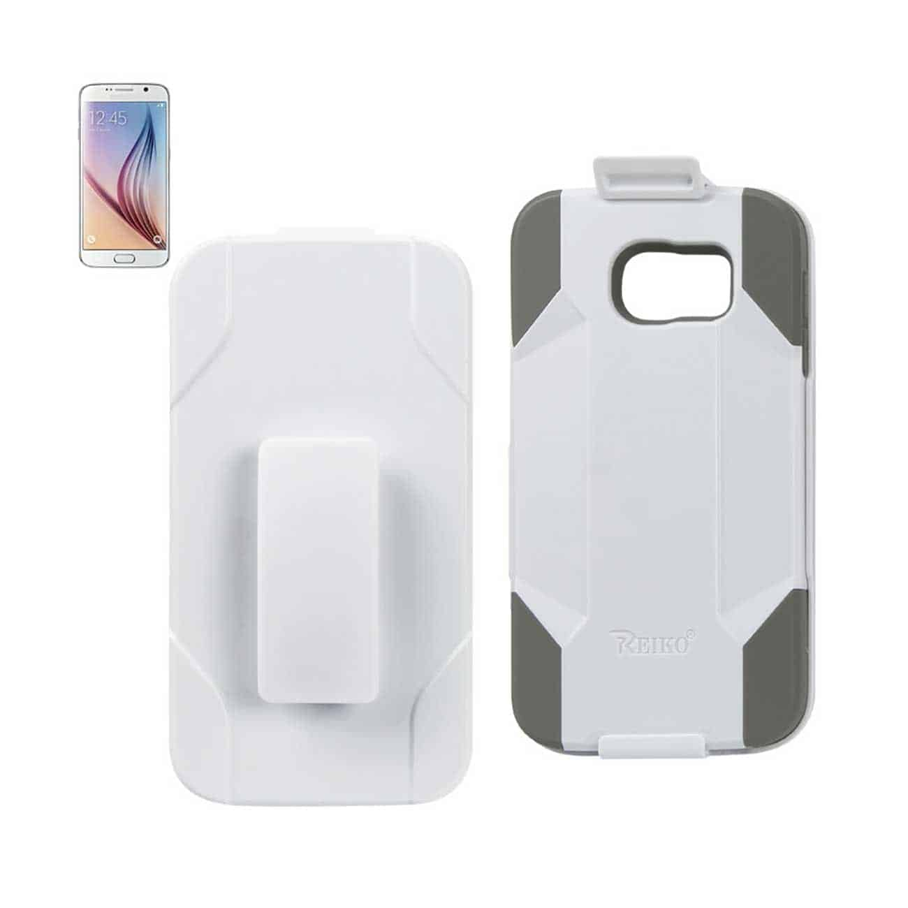 SAMSUNG GALAXY S6 HYBRID HEAVY DUTY HOLSTER COMBO CASE IN GRAY WHITE