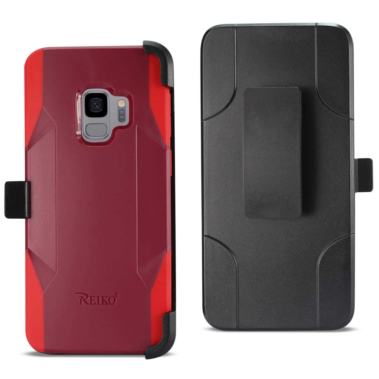 Samsung Galaxy S9 3-In-1 Hybrid Heavy Duty Holster Combo Case In Burgundy