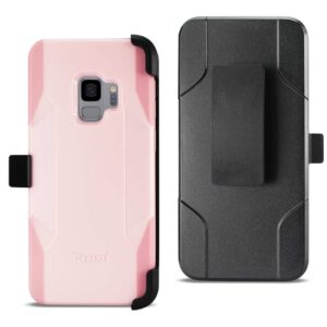 Samsung Galaxy S9 3-In-1 Hybrid Heavy Duty Holster Combo Case In Light Pink