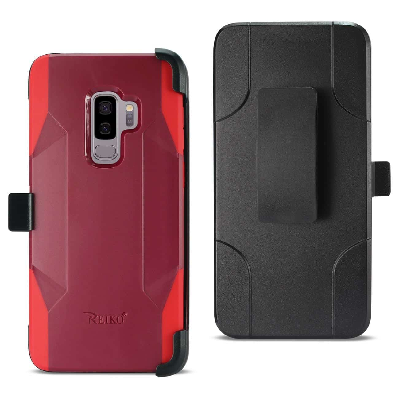 Samsung Galaxy S9 Plus 3-In-1 Hybrid Heavy Duty Holster Combo Case In Burgundy