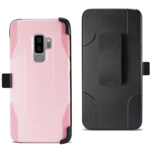 Samsung Galaxy S9 Plus 3-In-1 Hybrid Heavy Duty Holster Combo Case In Light Pink