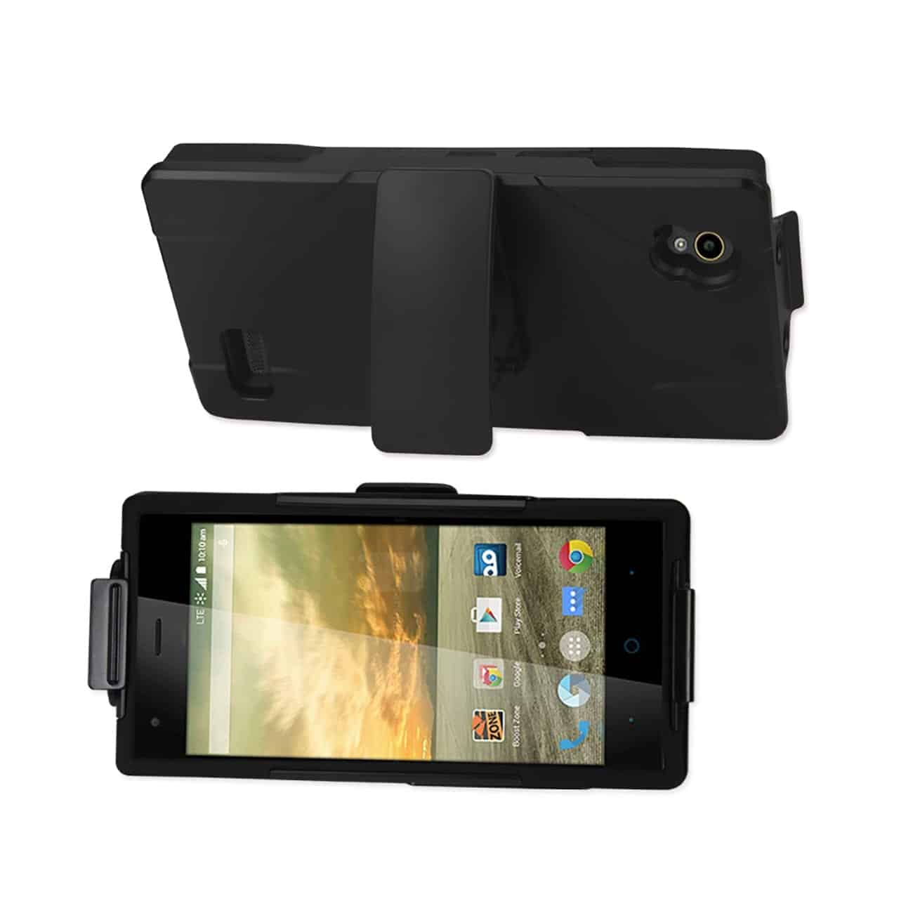 ZTE WARP ELITE HYBRID HEAVY DUTY HOLSTER COMBO CASE IN BLACK