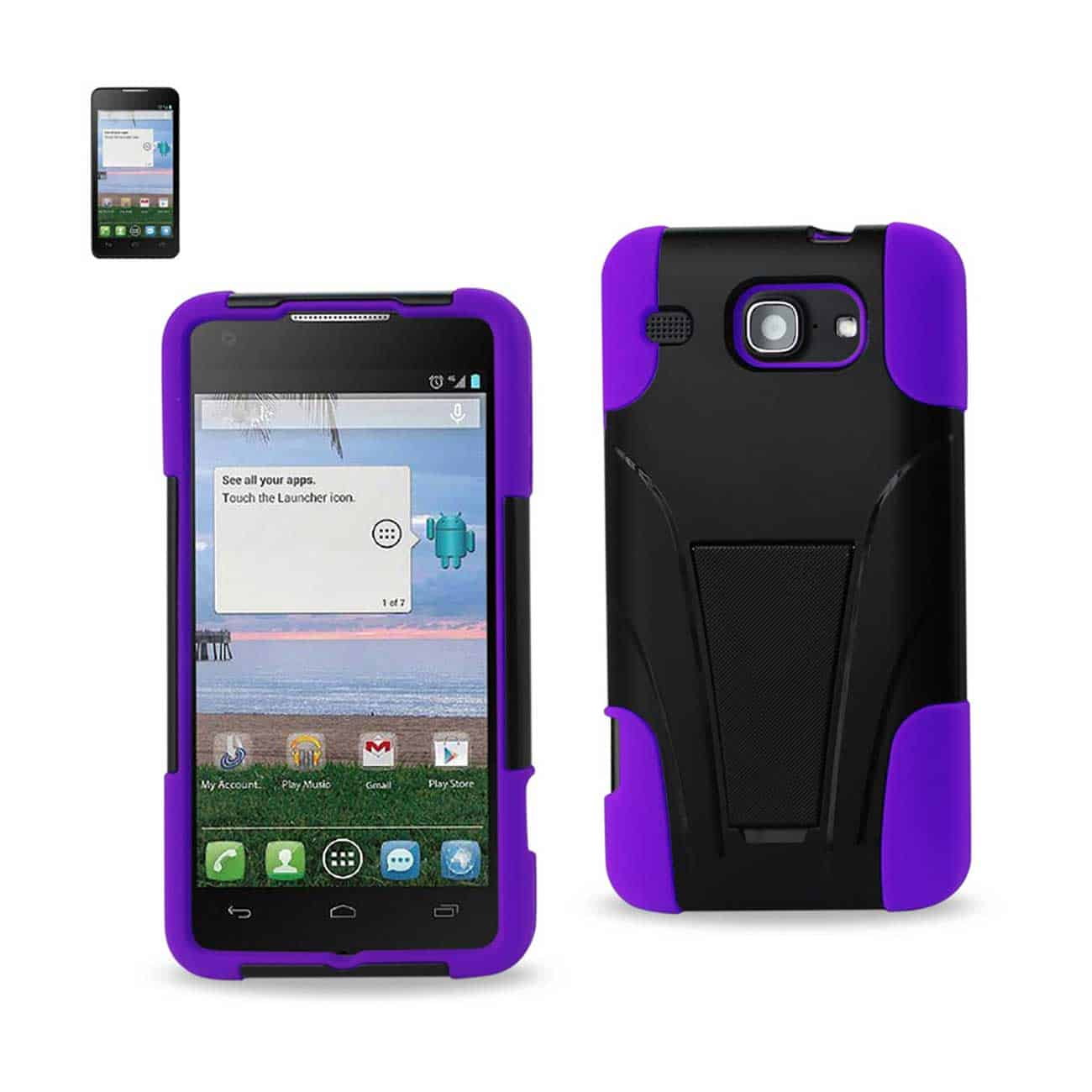 ALCATEL ONE TOUCH SONIC LTE HYBRID HEAVY DUTY CASE WITH KICKSTAND IN PURPLE BLACK