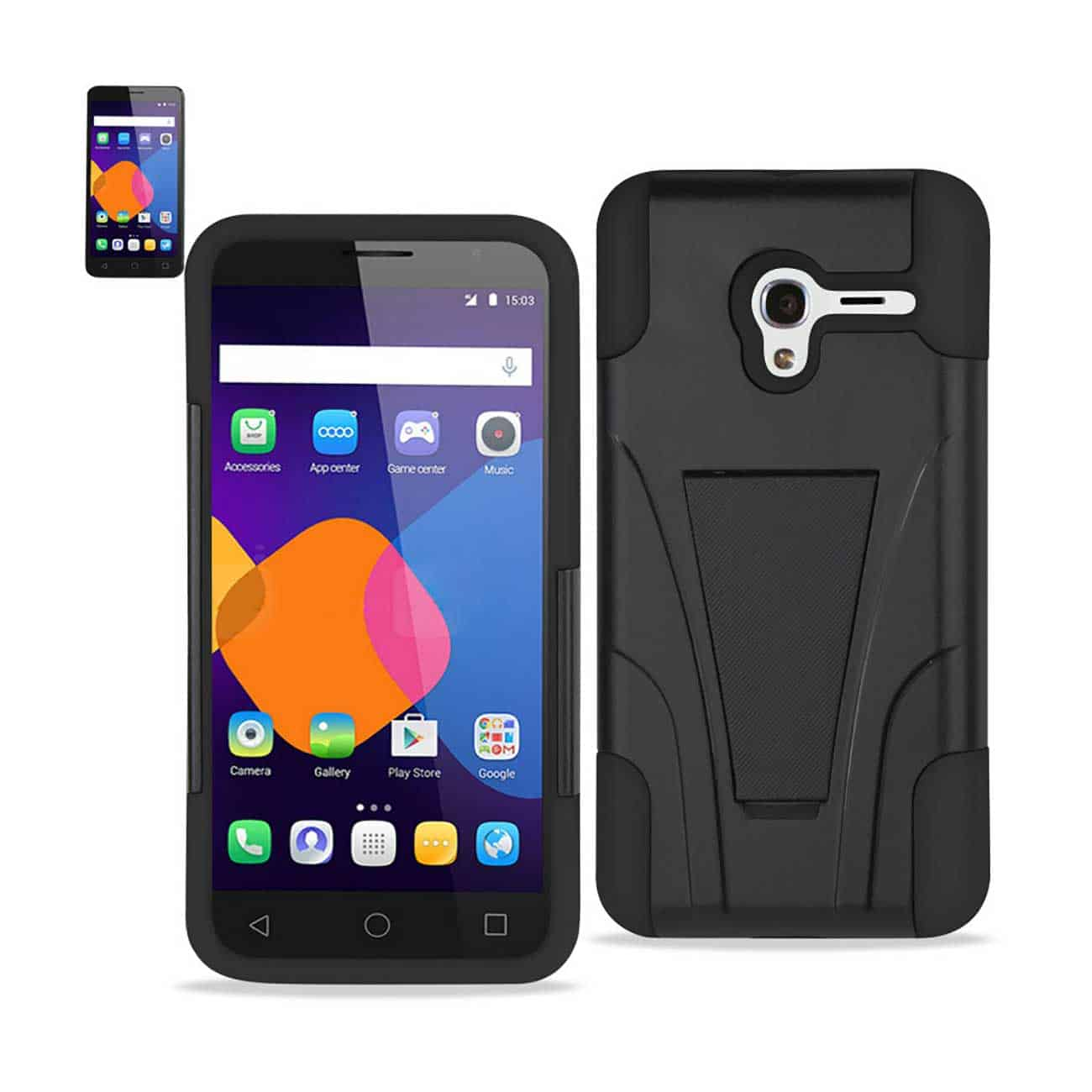 ALCATEL ONETOUCH PIXI 3 HYBRID HEAVY DUTY CASE WITH KICKSTAND IN BLACK