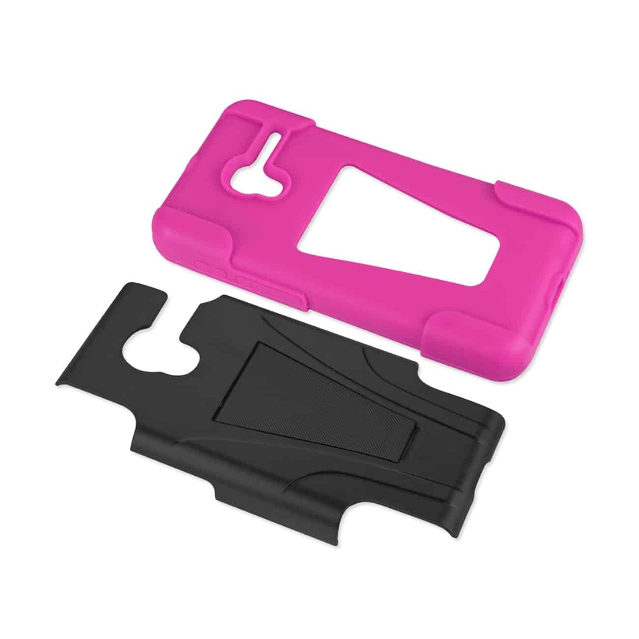 ALCATEL ONETOUCH PIXI 3 HYBRID HEAVY DUTY CASE WITH KICKSTAND IN HOT PINK BLACK