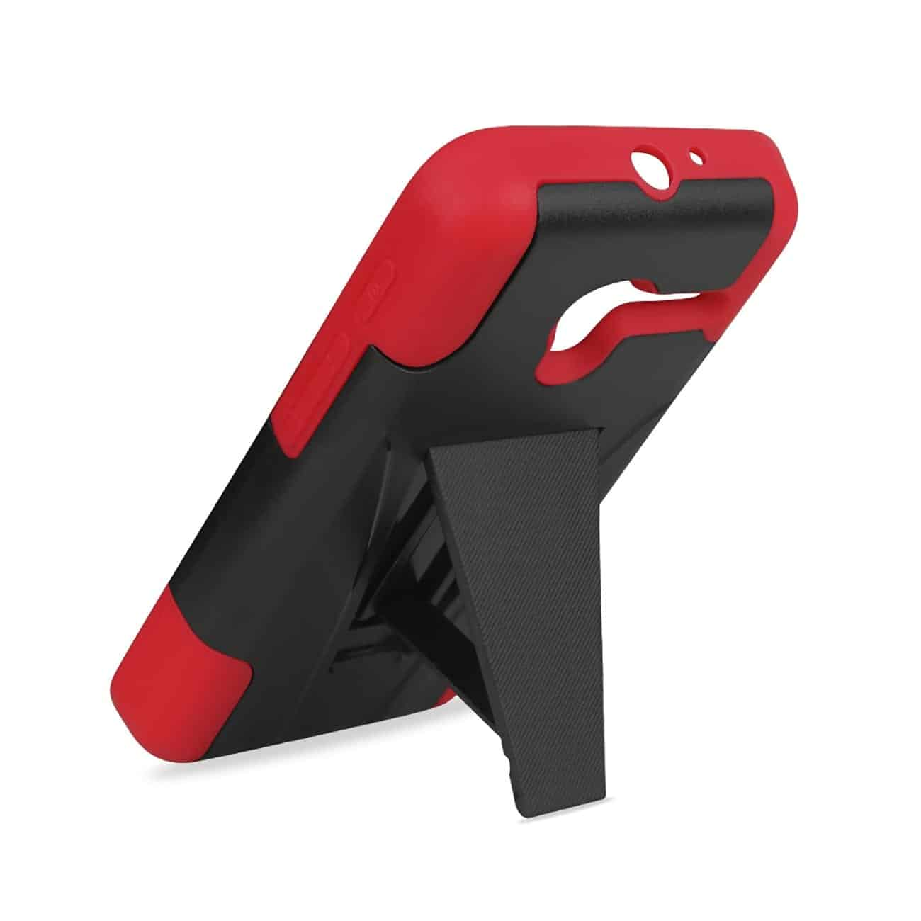 ALCATEL ONETOUCH PIXI 3 HYBRID HEAVY DUTY CASE WITH KICKSTAND IN RED BLACK