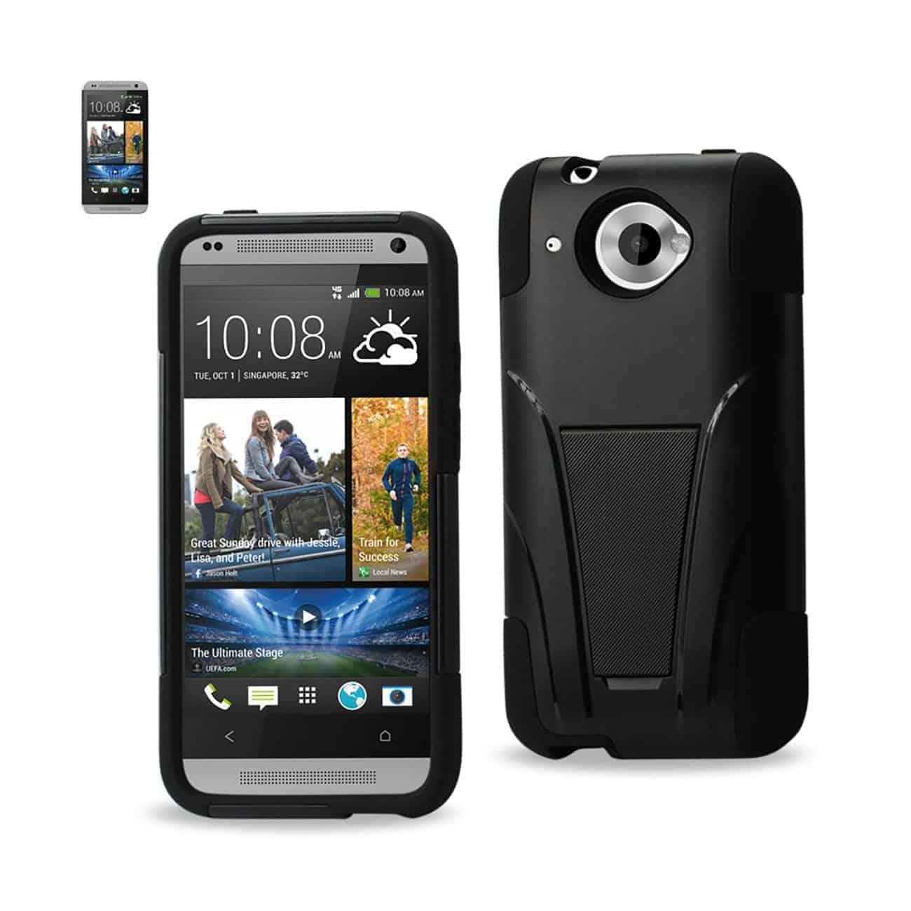 HTC ZARA HYBRID HEAVY DUTY CASE WITH KICKSTAND IN BLACK