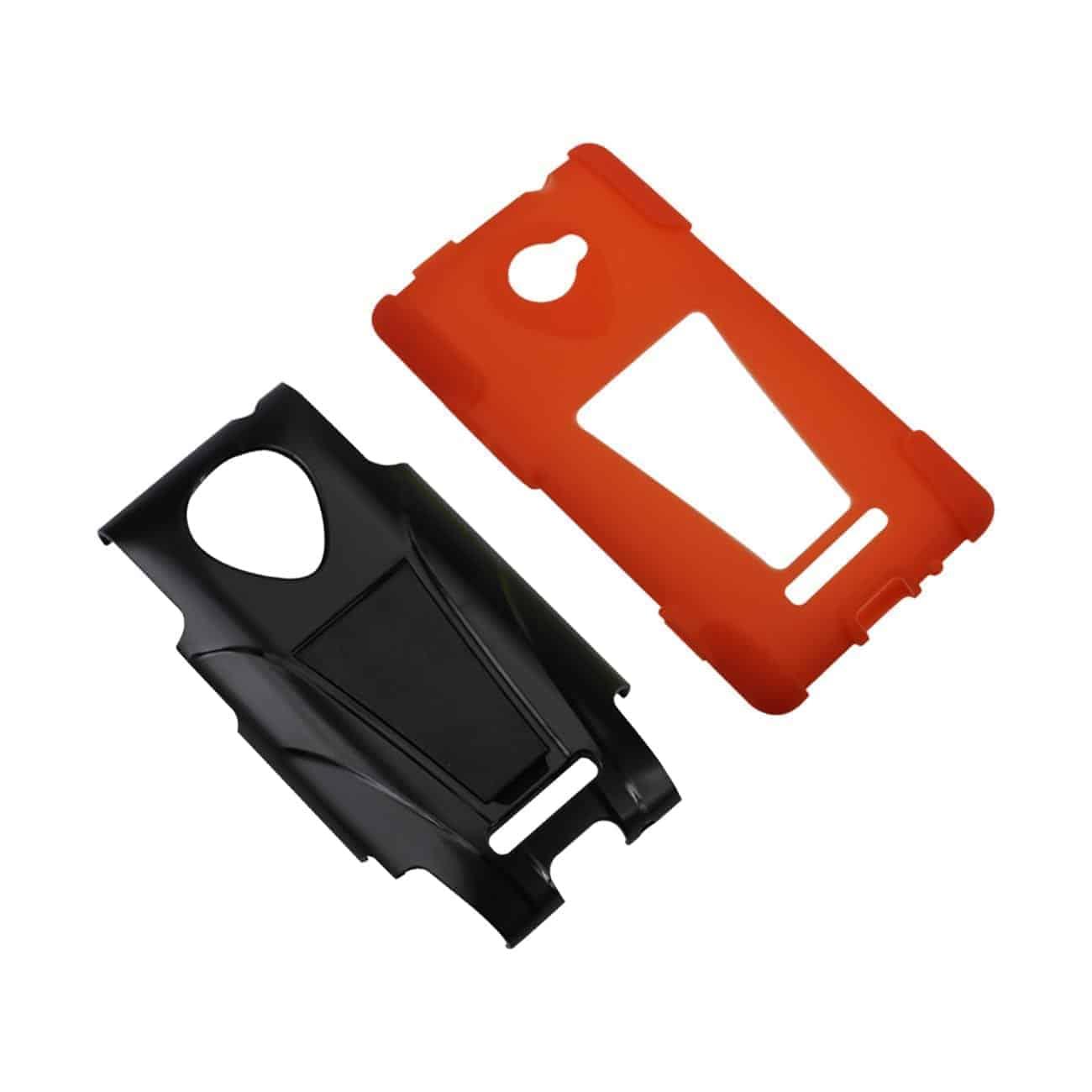 HTC WINDOWS PHONE 8X HYBRID HEAVY DUTY CASE WITH KICKSTAND IN BLACK ORANGE