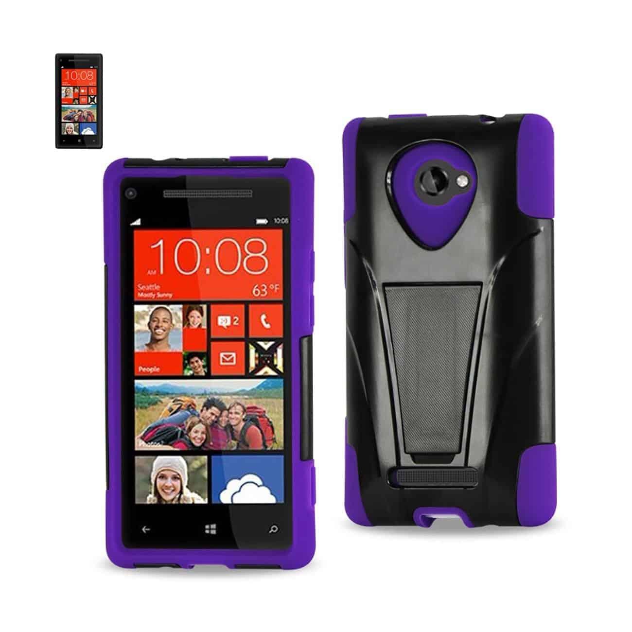 HTC WINDOWS PHONE 8X HYBRID HEAVY DUTY CASE WITH KICKSTAND IN BLACK PURPLE