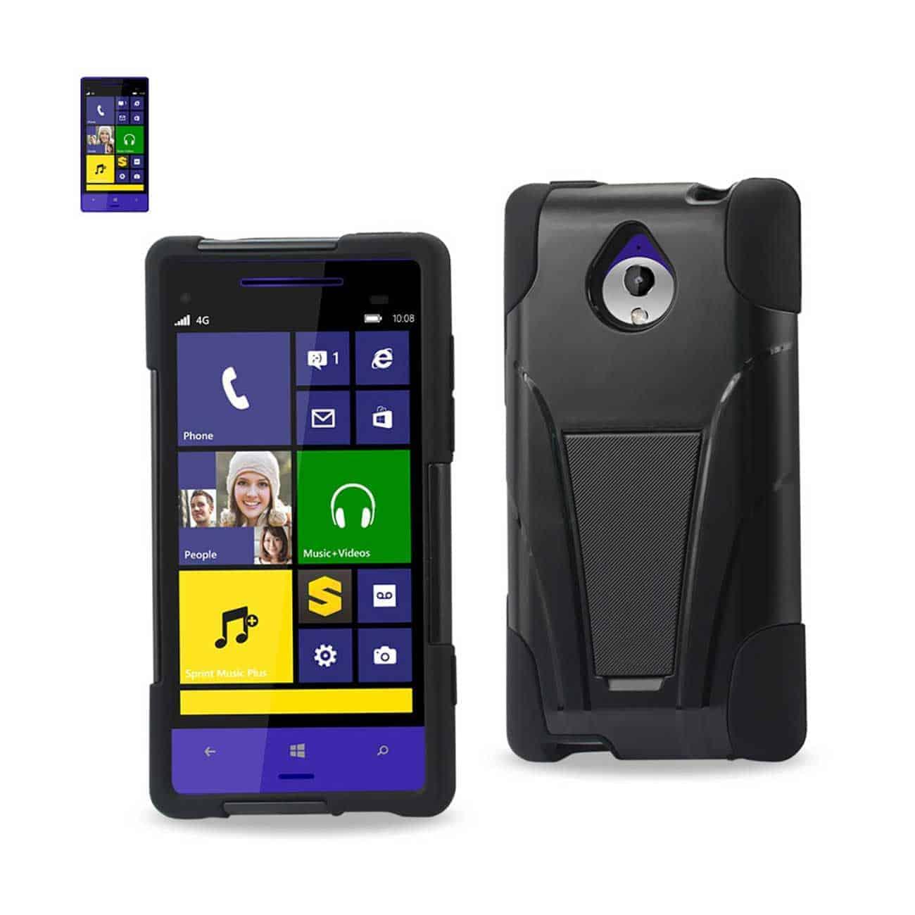 HTC 8XT HYBRID HEAVY DUTY CASE WITH KICKSTAND IN BLACK