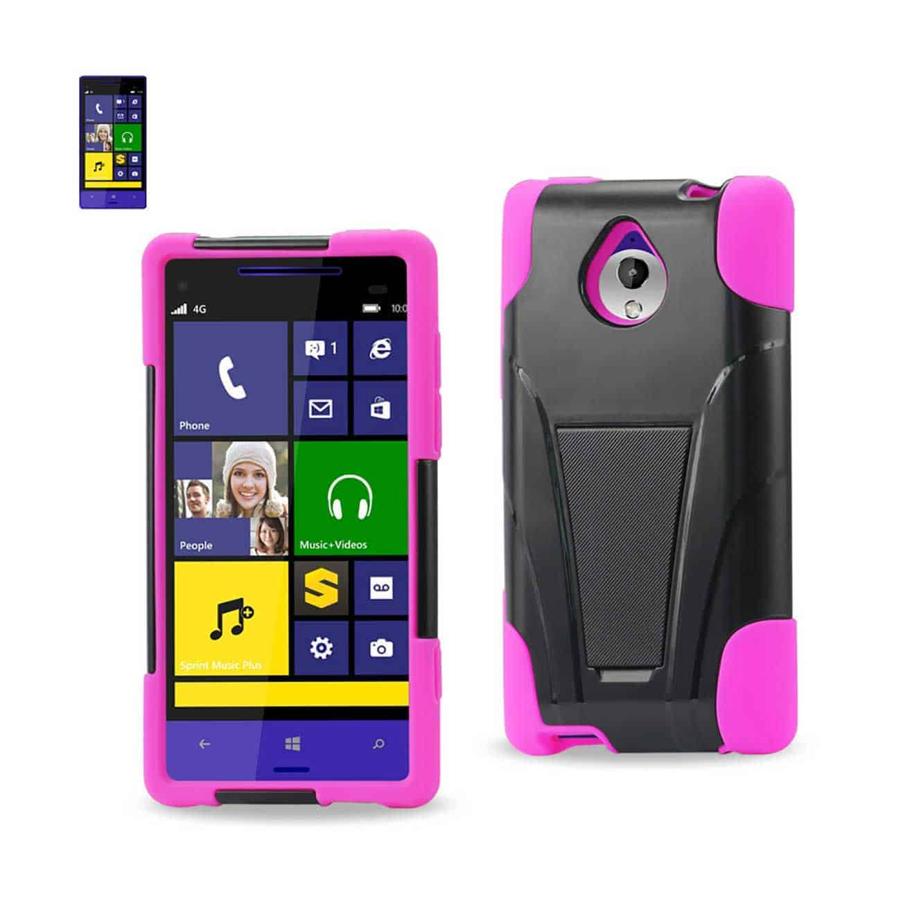 HTC 8XT HYBRID HEAVY DUTY CASE WITH KICKSTAND IN HOT PINK BLACK
