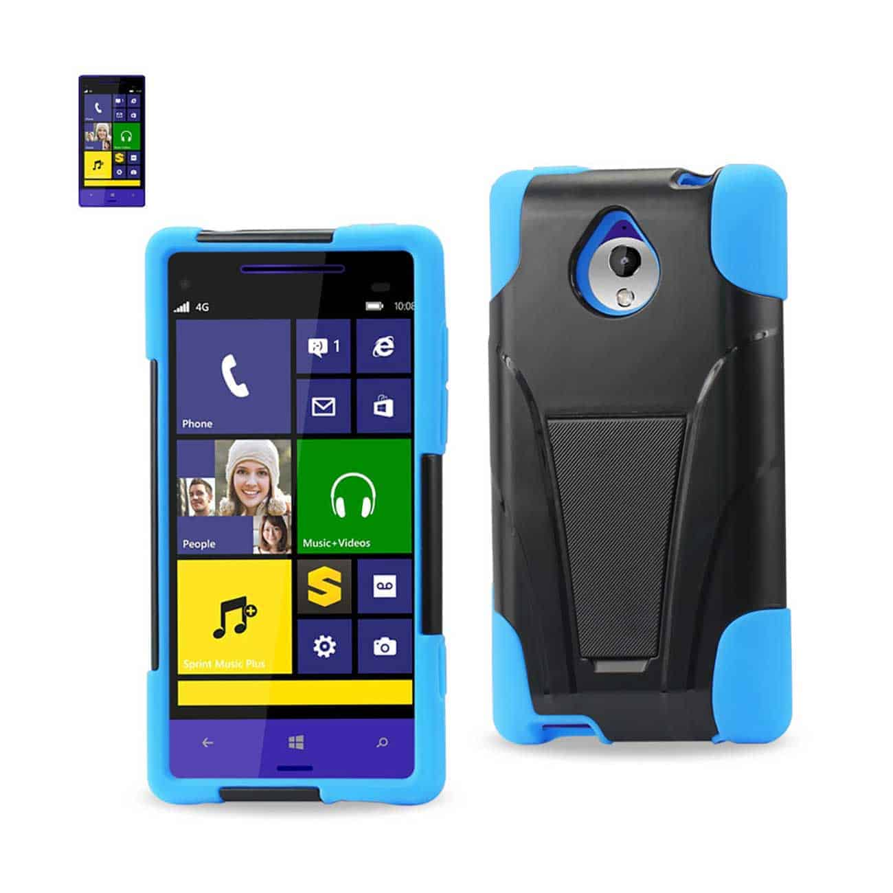 HTC 8XT HYBRID HEAVY DUTY CASE WITH KICKSTAND IN NAVY BLACK